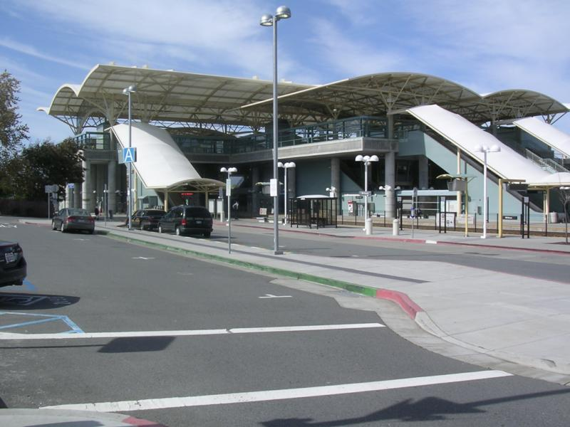 An impressove edition to the Millbrae skyline - a modern train station