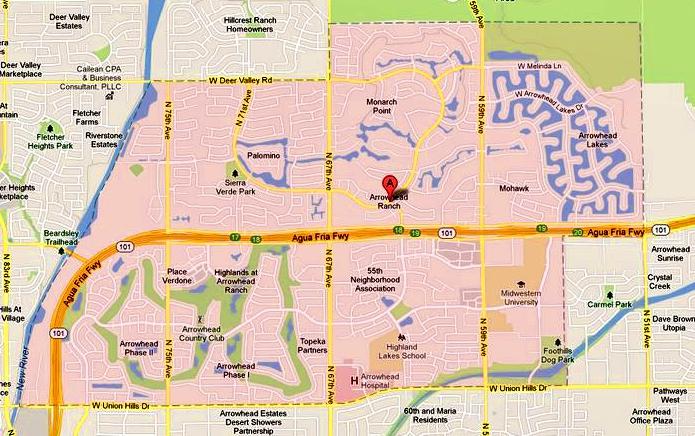 Map of Arrowhead Ranch, AZ 85308