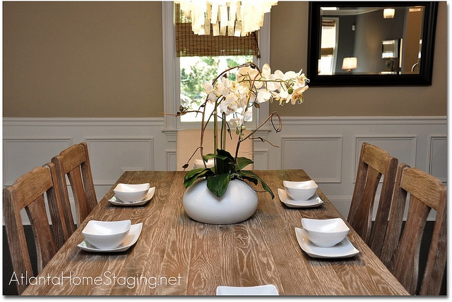 Dining room table after home staging & Should You Set Your Table When Selling Your Home?