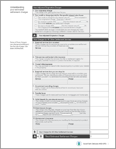 The New Good Faith Estimate (GFE) Form, Page 2 Section B