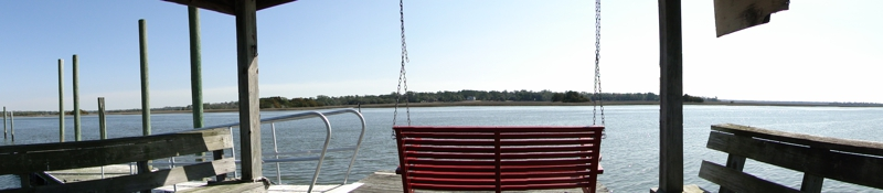View from swing on deep water dock