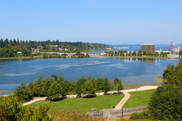 View of Olympia's waterfront and Capitol Lake from Capitol Campus