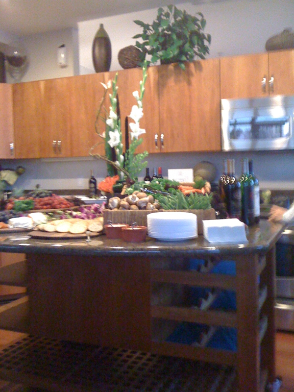 cherry kitchen cabinets, food, plants, granite countertops, wine, vegetables