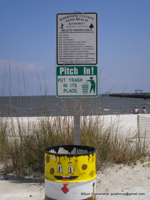Harrison County Beach Ordinance sign and beach view