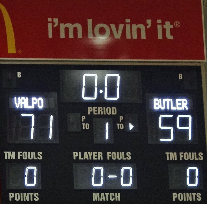final score Valpo Butler Game