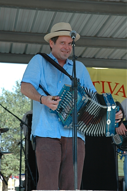 Steve Riley with High Performance playing at Festivals Acadiens 2010