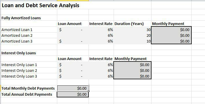Debt Service Worksheet screenshot