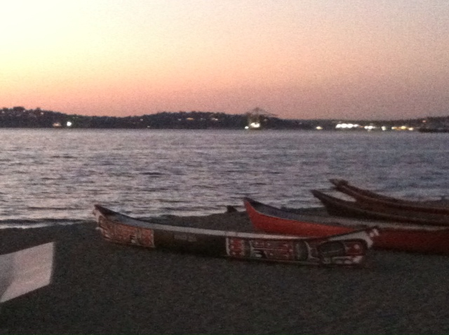 Pacific NW tribal canoes on Alki Beach