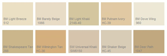 Beige colors names images for Shades of beige paint colors