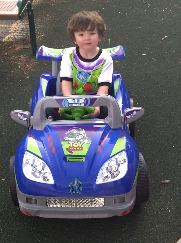Joey in his new birthday car