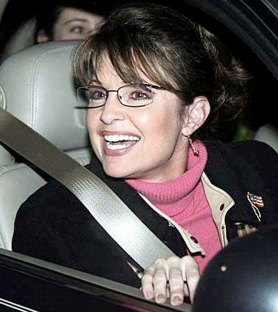 Picture of Sara Palin in a Car