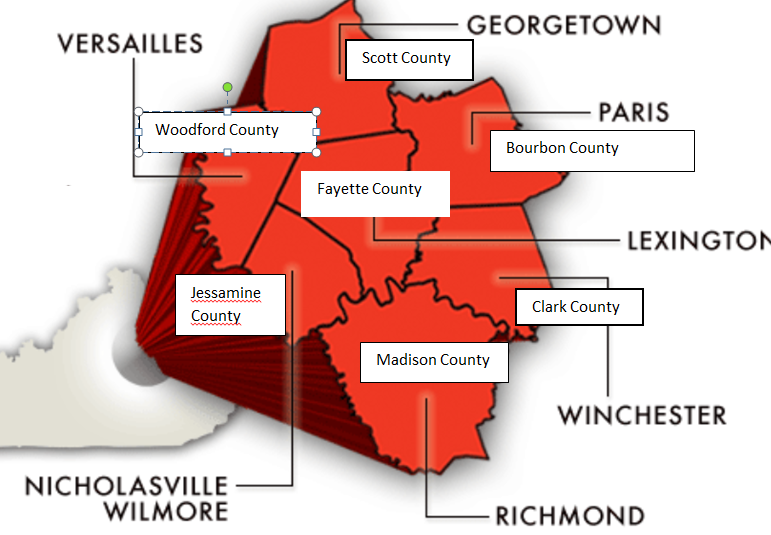 Map of Central Kentucky Counties