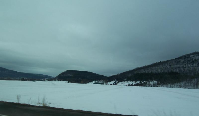 Hill and snow on the way to oneonta ny