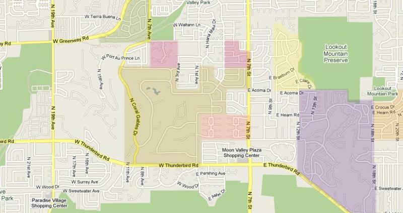Moon Valley Phoenix AZ map