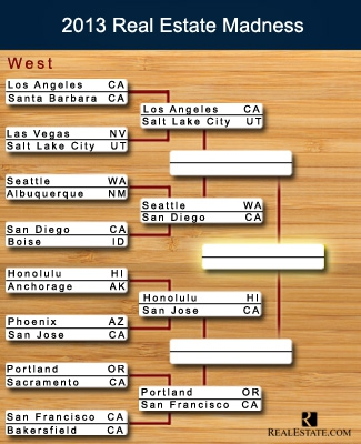 The bracket for the West region in Real Estate Madness, our version of the March Madness tournament
