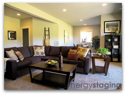 Family Room staged by Synergy Staging in West Linn Oregon
