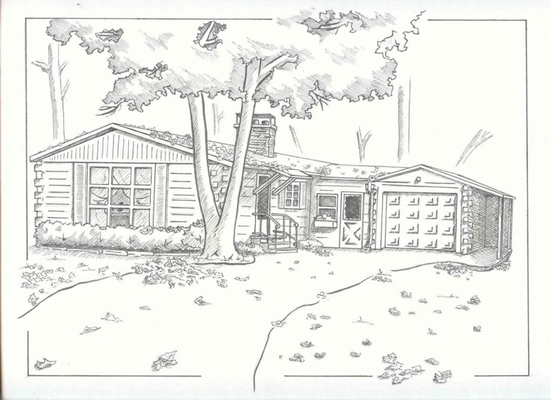 A simple ranch home sketched with some landscaping