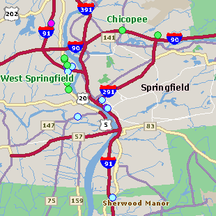 Map of Springfield MA