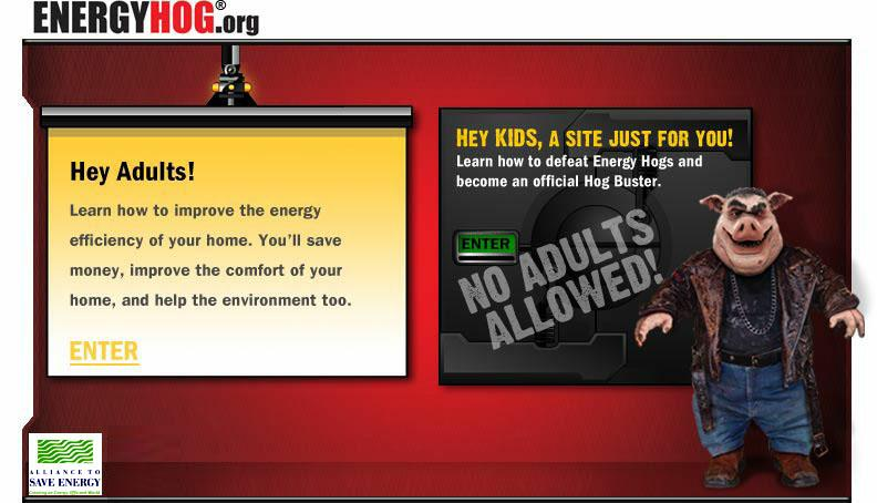 Energy Hog Game : Great websites for kids involving science energy and the