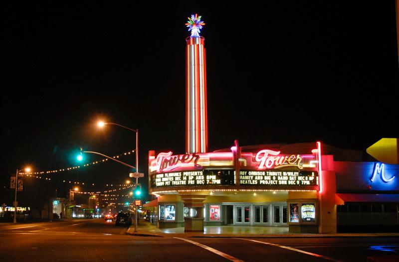 Tower Theater at night