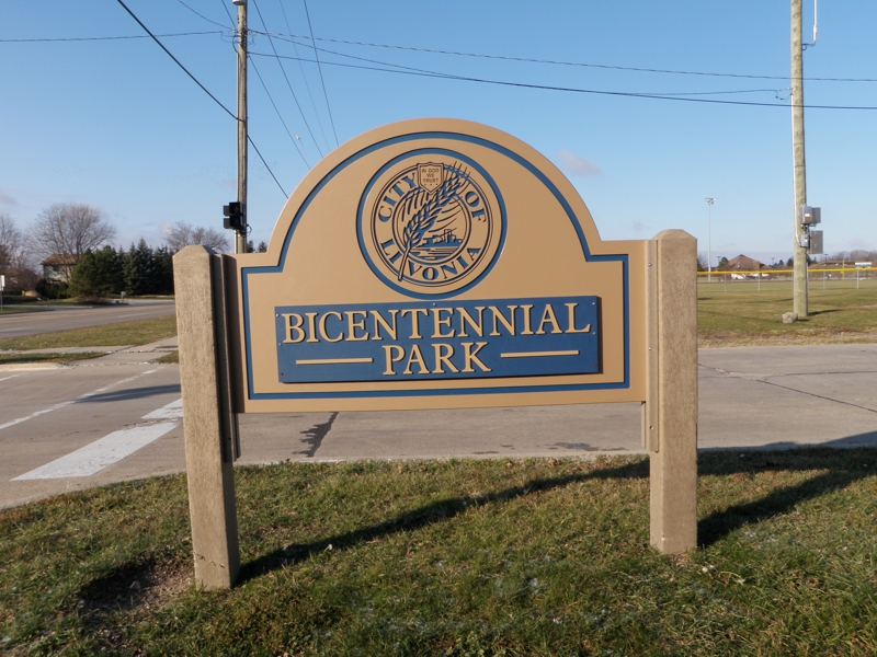 Bicentennial Park Sign Livonia Michigan