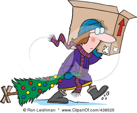 Woman carrying a moving box and dragging a Christmas tree