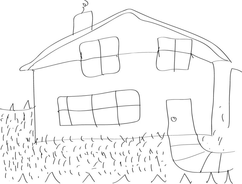 A rudimentary sketch of a basic house possibly done by a child