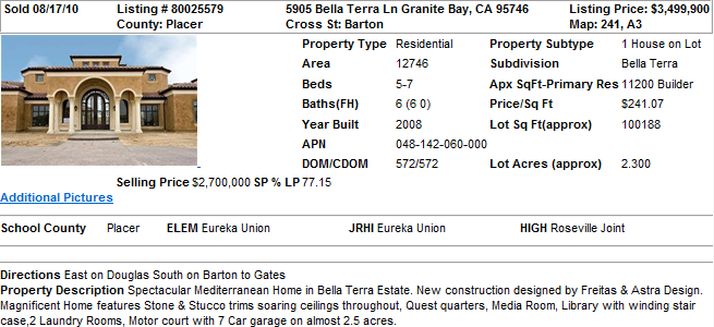 Most Expensive Home in Granite Bay, CA (Sold in 2010)