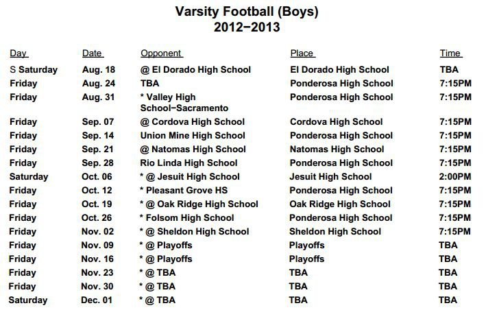 Ponderosa High 2012-2013 Football Schedule