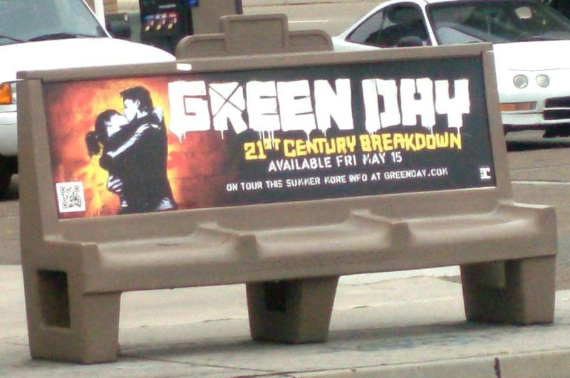 Green Day bus stop bench