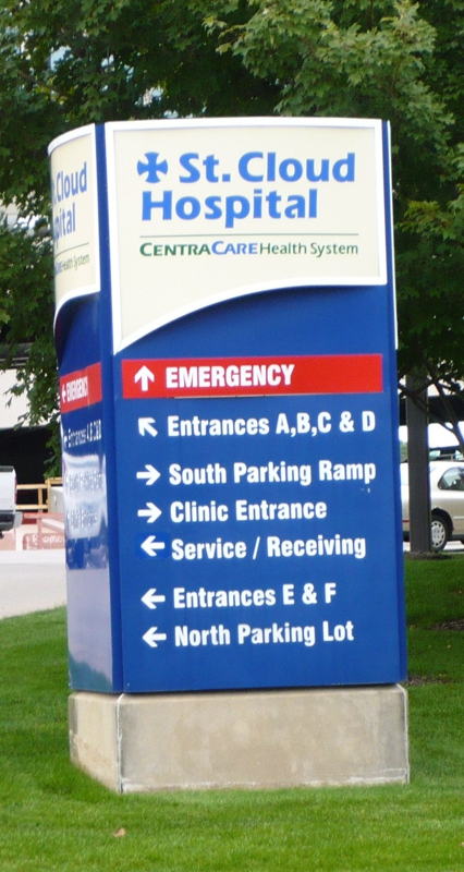 Directional sign at the St. Cloud Hospital