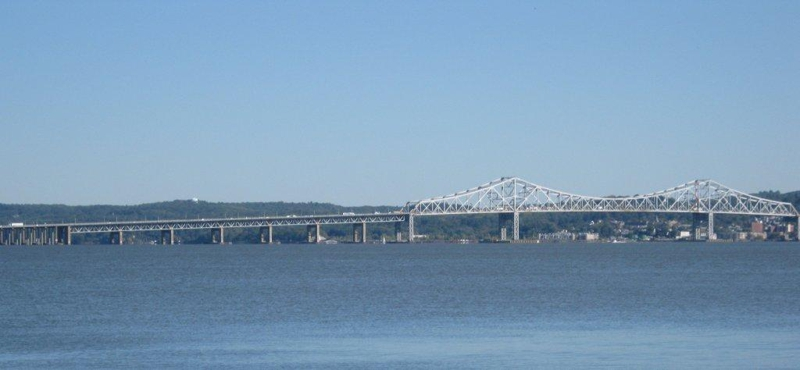 Piermont New York promenade - views of the Tappan Zee bridge