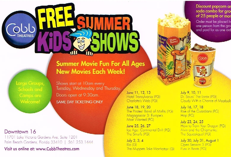 What Free Kids Movies Are Playing Cobb Theaters Summer 2013 In Pbg Fl