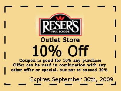 Reser's Outlet Store Coupon