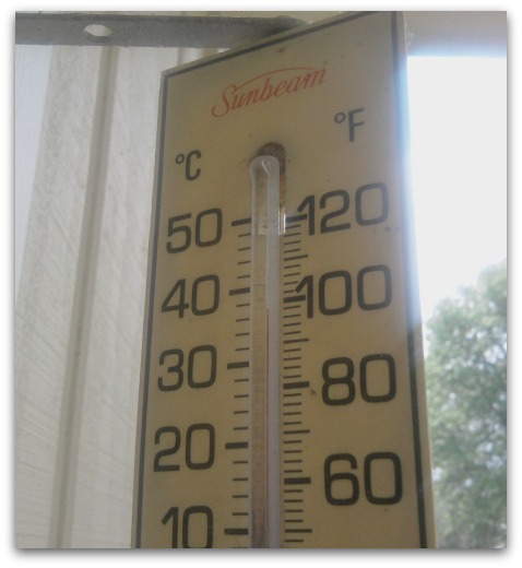 Columbus, OH 43085 thermometer showing 98 degrees July 2011