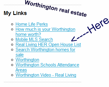 Worthington Ohio real estate - Real Living HER Open House list