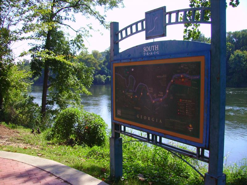 Columbus Ga, Home, to, Fort Benning,  River Walk marker Located behind the Columbus Ironworks Convention and Trade Center