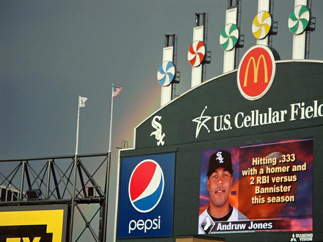 US Celluar Field Home of the Chicago White Sox Rainbow over the left upper quadrant of the scoreboard!