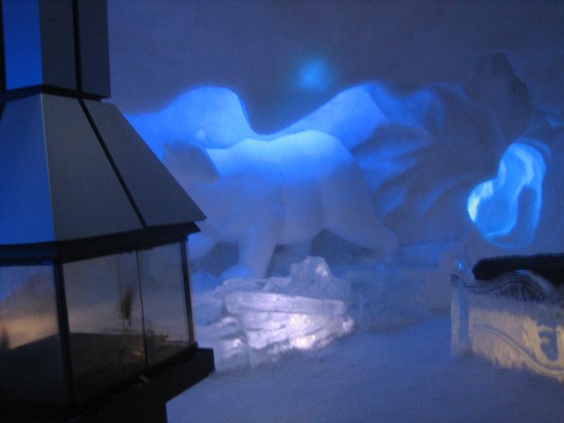 polar bear room with fireplace