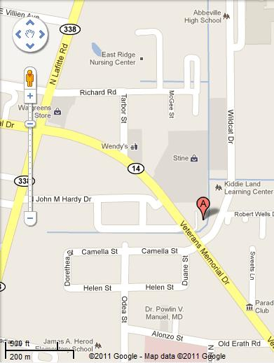Map To Melancon Jewelers 2423 Veterans Memorial Dr., Abbeville, LA 70510
