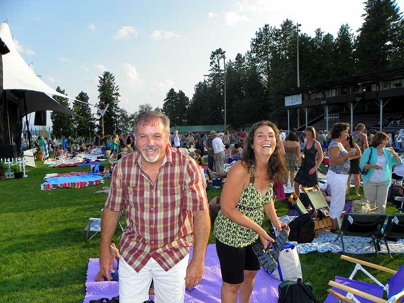 Robin and Kelly planting their spot at the Festival at Sandpoint