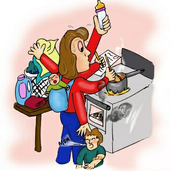 Cartoon depiction of mom trying to do many things at once