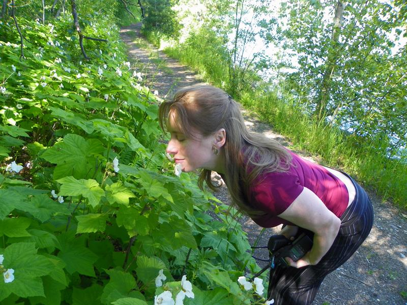 Smellin' the flowers along the Pend d'Oreille Bay Trail