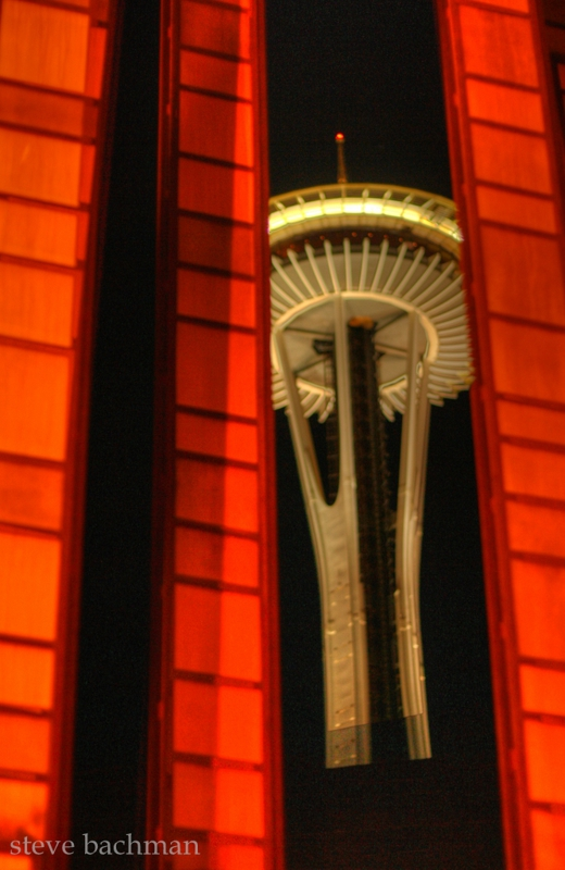 Seattle's space needle at night