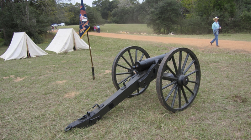 cannon and tents