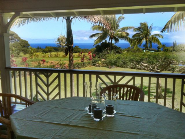 big shady lanai with ocean view in Haiku Maui HI 96708
