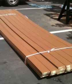 deck boards in parking lot.