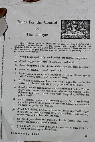 Rules For the Control of The Tongue