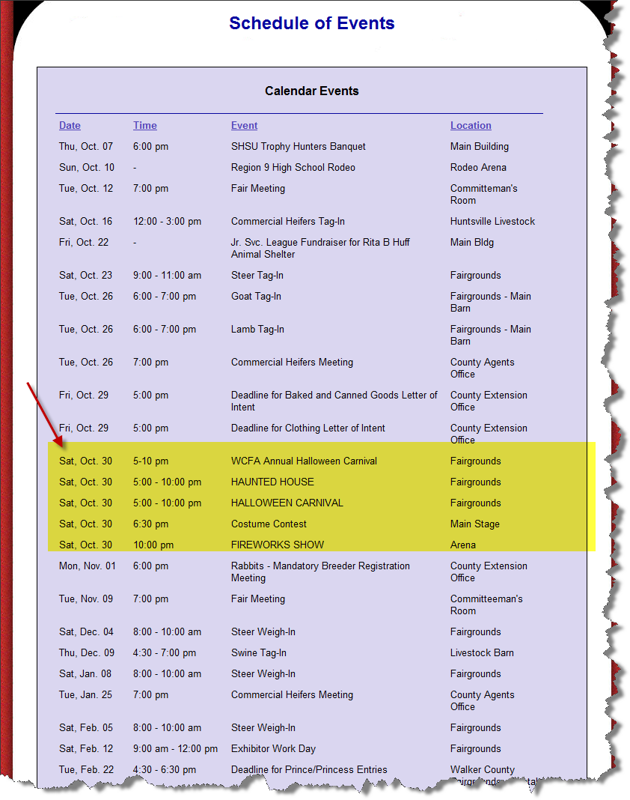 Walker County Fair Association Calendar