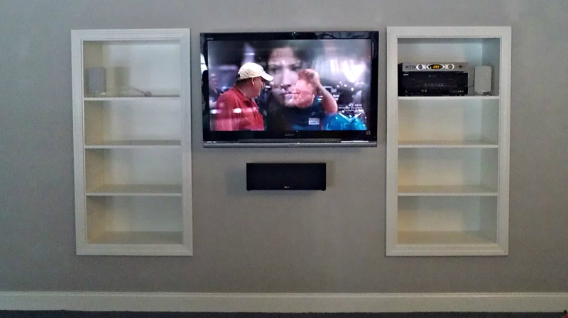built in shelving for tv